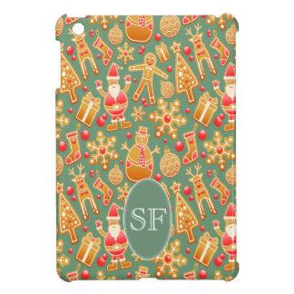 Étuis iPad Mini Père Noël de fête et monogramme de pain d'épice de