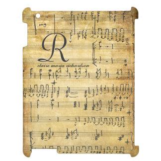 Étuis iPad Monogramme vintage de musique de feuille
