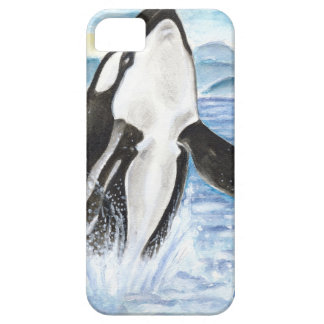 Étuis iPhone 5 Aquarelle ouvrant une brèche la baleine d'orque