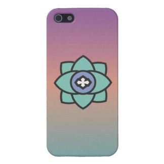 Étuis iPhone 5 Arrière - plan coloré avec une icône de fleur