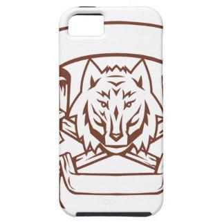 Étuis iPhone 5 Bannière croisée d'os de loup rétro