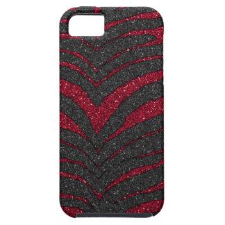 Étuis iPhone 5 Copie rouge de zèbre de parties scintillantes