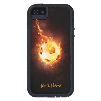 Étuis iPhone 5 Le football customisé sous le feu, boule, le