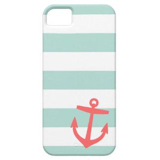 Étuis iPhone 5 Menthe et ancre de rayure et mignonne nautique de