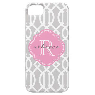 Étuis iPhone 5 Monogramme moderne gris et rose de coutume de