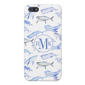 Étuis iPhone 5 Motif de baleine bleue d'aquarelle