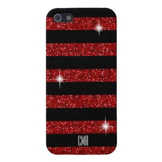 Étuis iPhone 5 Scintillement de confettis et monogramme rouges