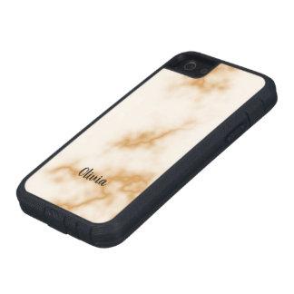 Étuis iPhone 5 Texture de marbre blanche rouge avec le nom fait