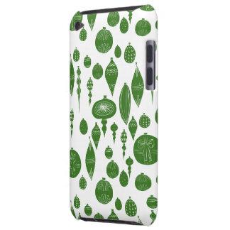 Étuis iPod Touch Ornements verts vintages de Noël sur le blanc