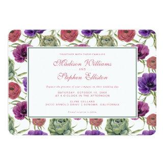 Eucalyptus de l'aquarelle   et anémone - mariage carton d'invitation  12,7 cm x 17,78 cm