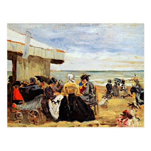 Eugene Boudin : Une scène de plage Carte Postale