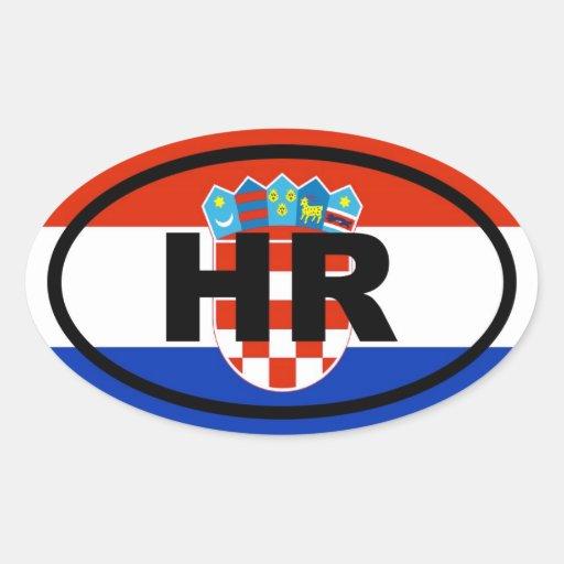 Européen de la Croatie heure Stickers Ovales