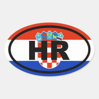 Européen de la Croatie heure Sticker Ovale