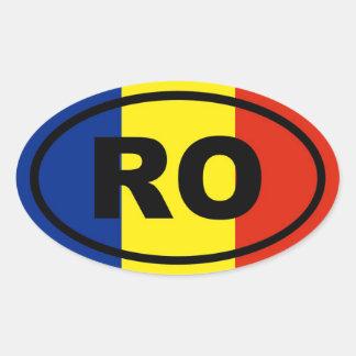 Européen de RO de la Roumanie Sticker Ovale