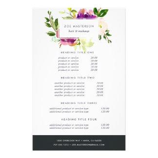 Évaluation florale et services d'aquarelle prospectus 14 cm x 21,6 cm