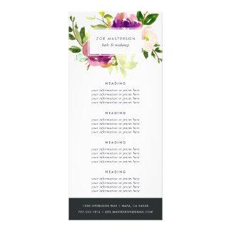 Évaluation florale/services d'aquarelle vibrante carte publicitaire