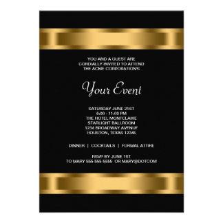 Événement d entreprise de partie de noir noir d or invitations personnalisées