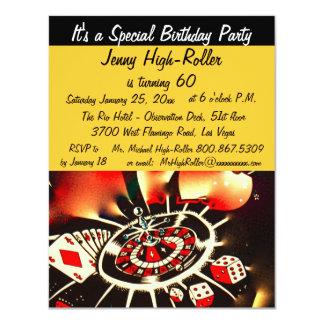 Événement de coup d'anniversaire de casino de Las Carton D'invitation 10,79 Cm X 13,97 Cm
