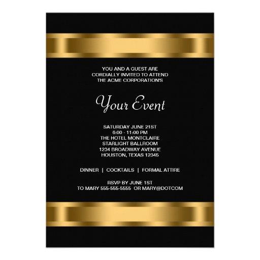 Événement d'entreprise de partie de noir noir d'or invitations personnalisées