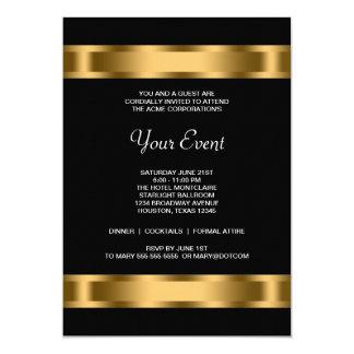 Événement d'entreprise de partie de noir noir d'or carton d'invitation  12,7 cm x 17,78 cm