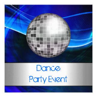 Événement Mirrorball argenté bleu de soirée dansan Cartons D'invitation