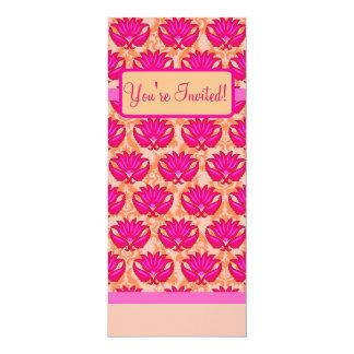 Événement orange rose fuchsia de partie de damassé carton d'invitation  10,16 cm x 23,49 cm
