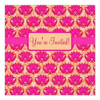 Événement orange rose fuchsia de partie de damassé carton d'invitation  13,33 cm