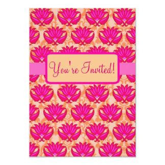 Événement orange rose fuchsia de partie de damassé carton d'invitation  12,7 cm x 17,78 cm