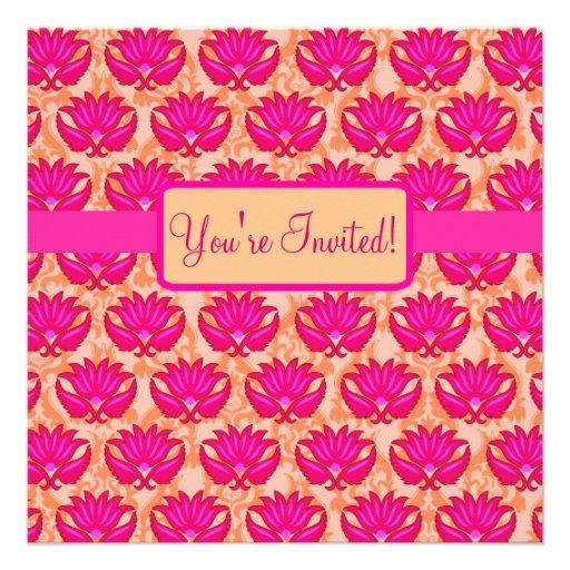 Événement orange rose fuchsia de partie de damassé invitations