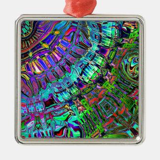 Éventail abstrait des formes ornement carré argenté