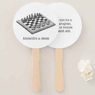Éventail Art de cru d'échiquier et de pièces d'échecs