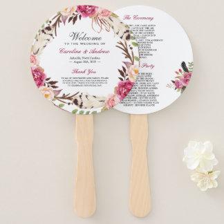 Éventail Programme floral moderne de mariage de guirlande