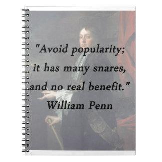 Évitez la popularité - William Penn Carnet