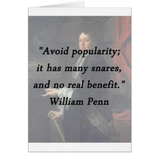 Évitez la popularité - William Penn Carte De Vœux