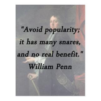Évitez la popularité - William Penn Cartes Postales