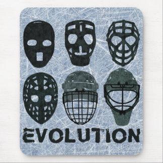 Évolution de masque de gardien de but d'hockey tapis de souris