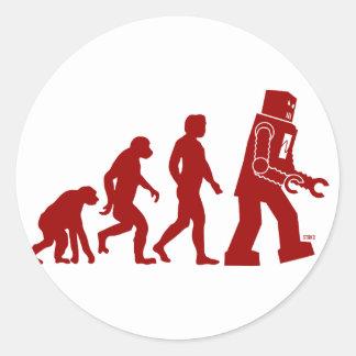 Évolution de robot - de l'homme dans des robots sticker rond