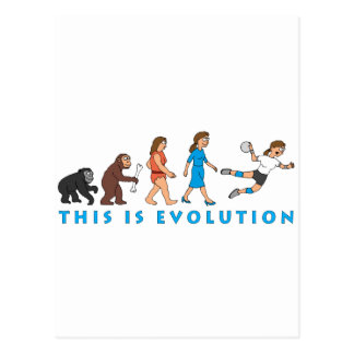évolution female handball plus player comic carte postale