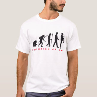 évolution of clarinet plus player t-shirt