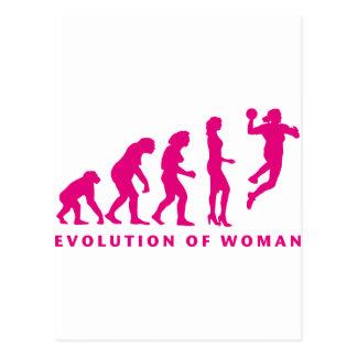 évolution of handball woman carte postale