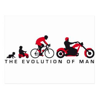 évolution of motorcycle plus biker carte postale