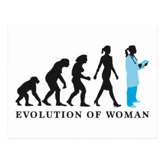 évolution of woman female doctor carte postale