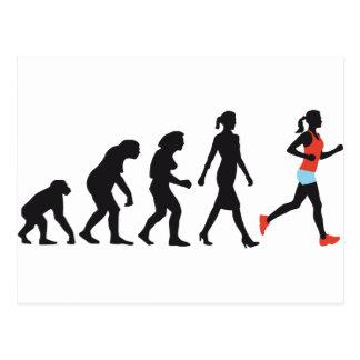 évolution of woman female plus jogger carte postale