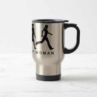 évolution of woman jogging mug de voyage