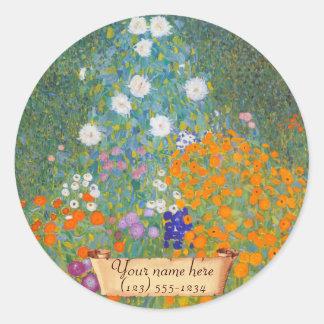 """Ex-libris de Gustav Klimt """"Bauerngarten"""" Sticker Rond"""