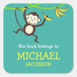 Ex-libris de singe/étiquettes d'école sticker carré