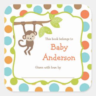 Ex-libris neutres de bébé de singe de genre sticker carré