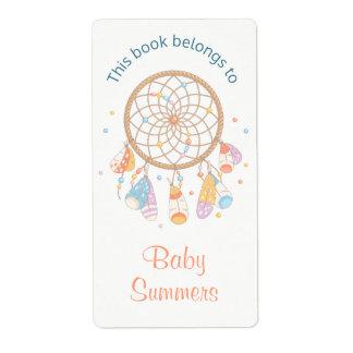 Ex-libris tribal de bébé de Dreamcatcher Boho Étiquette D'expédition
