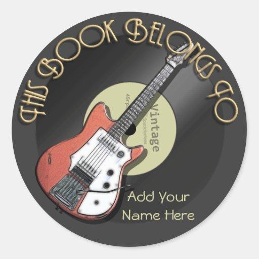 Ex-libris vintage de guitare autocollants ronds