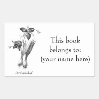 Ex-libris vintage gravure à l'eau-forte de fleur sticker rectangulaire